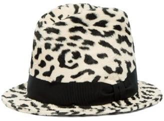 Dolce & Gabbana Leopard Print Faux Fur Fedora Hat - Womens - White