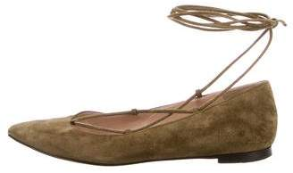 Gianvito Rossi Pointed-Toe Suede Flats