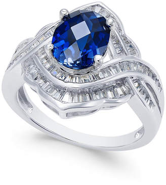 Macy's Sapphire (2 ct. t.w.) and Diamond (3/4 ct. t.w.) Ring in 14k White Gold