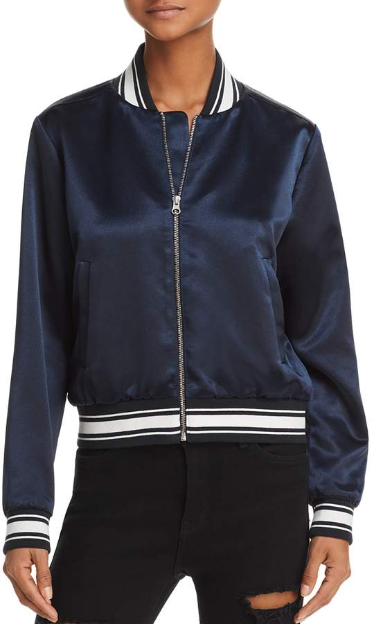 Varsity Satin Bomber Jacket