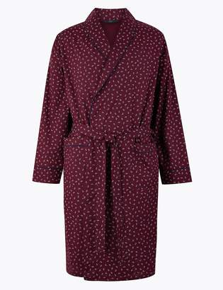 Marks and Spencer Cotton Blend Printed Dressing Gown with Belt