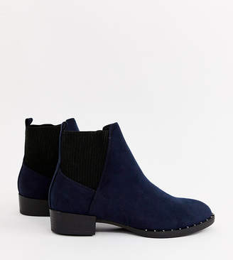 New Look studded flat boot in navy