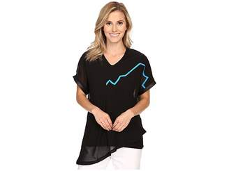 Jamie Sadock Life Style Short Sleeve Top with Tonal Mesh Overlay Women's Blouse