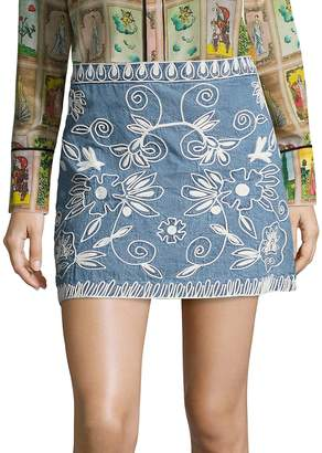Alice + Olivia Women's Riley Embroidered Chambray Mini Skirt