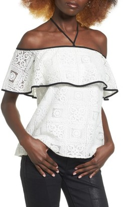 Women's Wayf Evelyn Off The Shoulder Lace Top $69 thestylecure.com