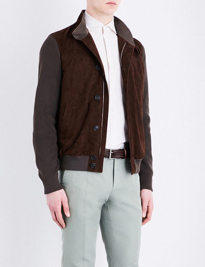 CornelianiCorneliani Contrast-panel suede and cotton-knitted jacket