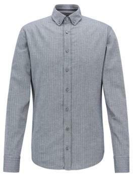 BOSS Hugo Slim-fit shirt in washed cotton herringbone structure L Dark Blue