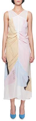 Victoria Beckham V-Neck Sleeveless Gathered Striped Midi Dress