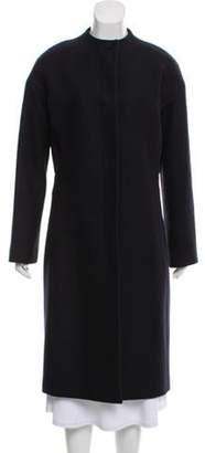 Neil Barrett Collarless Wool Coat Navy Collarless Wool Coat