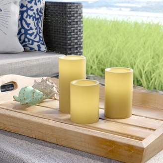 Beachcrest Home 3 Piece Unscented Pillar Candle Set