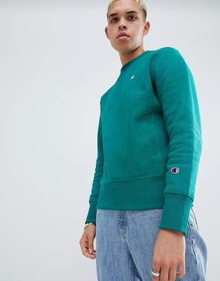 Champion reverse weave sweatshirt with small logo in green
