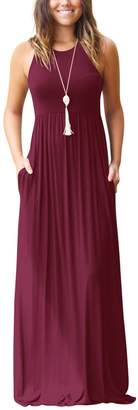 Zilcremo Women Casual Sleeveless Tank Solid Fit And Flare Maxi Party Dress S
