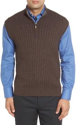Men's Robert Talbott Cable Knit Quarter Zip Cotton Blend Sweater Vest $188 thestylecure.com