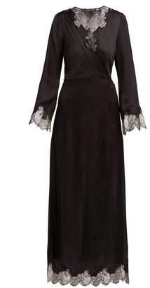 Carine Gilson Lace Trimmed Silk Robe - Womens - Black