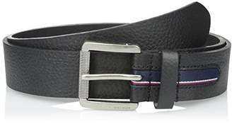 Tommy Hilfiger Men's mm Gnarled Buckle with Signature Stripe Ribbon Inlay Belt
