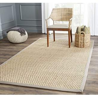 Safavieh Natural Fiber Collection NF114P Basketweave Natural and Grey Summer Seagrass Area Rug (2' x 3')