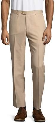 Santorelli Men's Virgin Wool Flat-Front Pants
