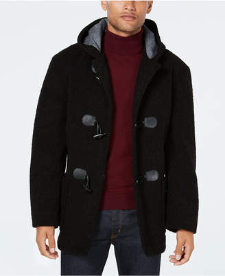 Tallia Men Slim-Fit Black Faux Fur Toggle Coat