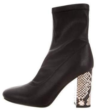Barneys New York Barney's New York Leather Round-Toe Ankle Boots Black Barney's New York Leather Round-Toe Ankle Boots