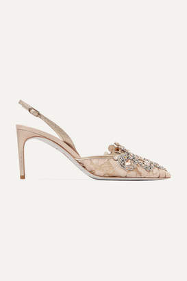Rene Caovilla Embellished Lace And Satin Slingback Pumps - Beige
