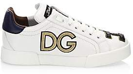 Dolce & Gabbana Dolce& Gabbana Dolce& Gabbana Women's Embroidered Leather Sneakers