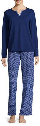 Adonna Split Neck Long Sleeve Pant Pajama Set- Tall