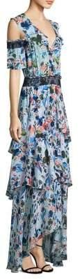 Tanya Taylor Floral Silk Cold-Shoulder Dress