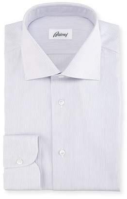 Brioni Narrow-Stripe Cotton Dress Shirt