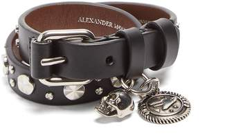 Alexander McQueen Studded double-wrap leather bracelet