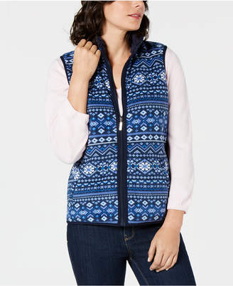 Karen Scott Petite Fair Isle Zip-Front Vest