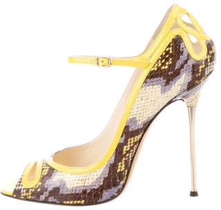Brian Atwood Embossed Peep-Toe Pumpsq $220 thestylecure.com