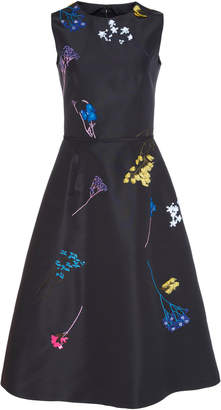 Carolina Herrera Sleeveless Embroidered Knee Length Dress