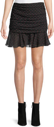 Veronica Beard Millie Ruched Dot-Print Silk Georgette Mini Skirt