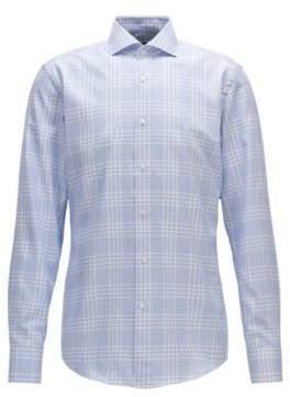 BOSS Hugo Windowpane Cotton Dress Shirt, Slim Fit Jason 15 Blue