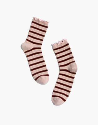 Madewell Diagonal Striped Ruffle-Edge Ankle Socks