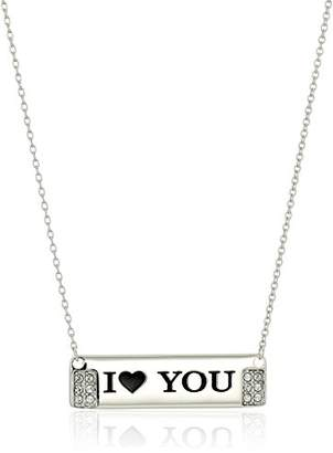 """Swarovski Sterling Silver""""I 'Heart' You"""" Horizontal Bar Necklace Made with Crystal (18"""")"""