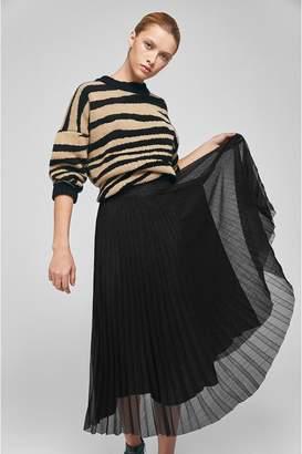 Anine Bing Lovisa Pleated Skirt - Black With Silver