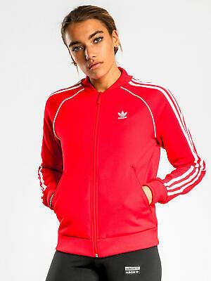adidas New Womens Superstar Track Jacket In Scarlet Red Jackets Athletics