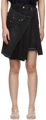 Sacai Black Velvet Denim X Uncut Skirt