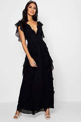 boohoo NEW Womens Boutique Waterfall Ruffle Maxi Dress in Polyester