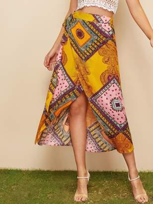 Shein Scarf Print Tulip Hem Wrap Skirt