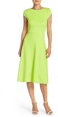 Women's Eci Lime Scuba Fit & Flare Midi Dress $88 thestylecure.com