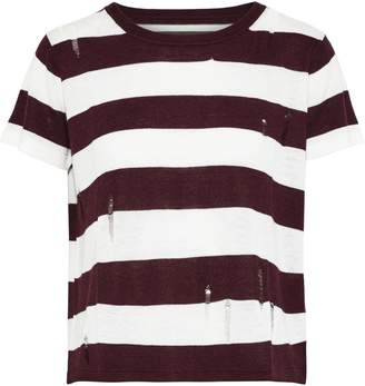 Enza Costa Distressed Striped Stretch-knit T-shirt