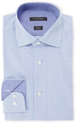 Isaac Mizrahi Blue Square-Print Slim Fit Stretch Dress Shirt