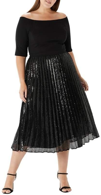 Black 'Mirabeau' Sequin Dress - Curve