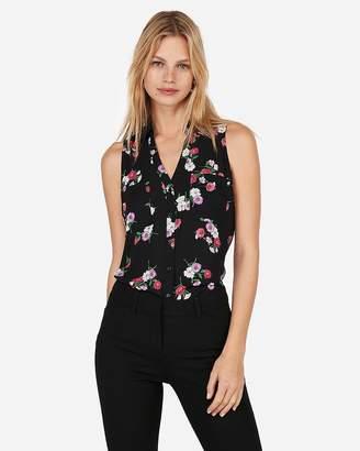 Express Slim Fit Floral Print Sleeveless Portofino Shirt