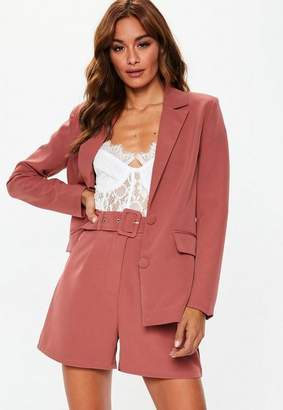 Missguided Rose Pink Belted Tailored Co Ord Shorts