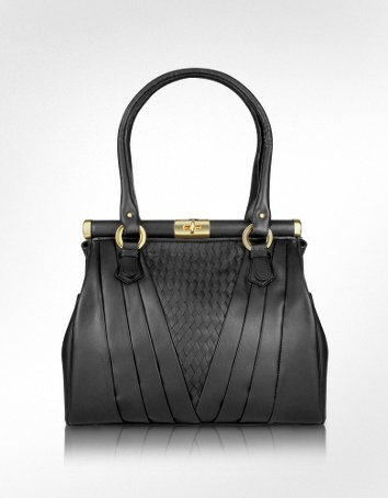 Fontanelli Black Woven Genuine Leather Twist Lock Bag