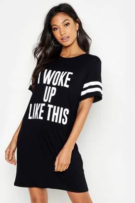 ee98e4b4fa6d boohoo 'I Woke Up Like This' Oversized Sleep Tee
