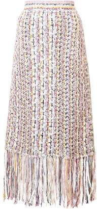 ADAM by Adam Lippes tweed fringed skirt